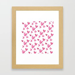 Be my valentine blush pink vector romantic heart pattern Framed Art Print