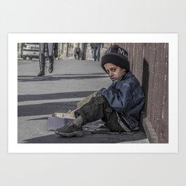 A child begging on bridge Art Print