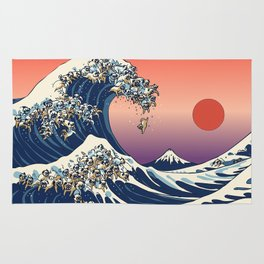 The Great Wave of Pugs / Square Rug