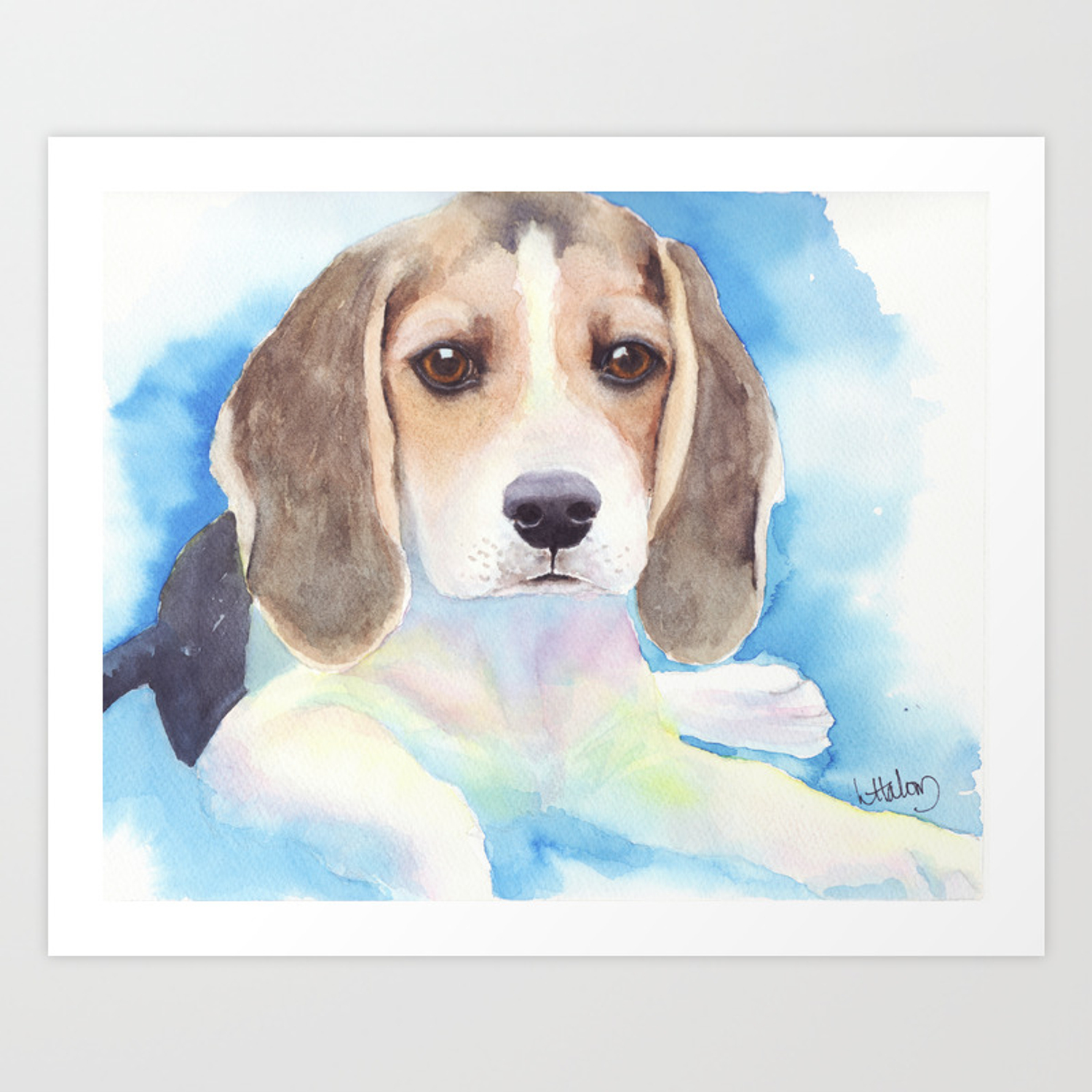 Beagle Puppy Painting Art Print By Artendeavors Society6