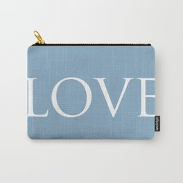 Love word on placid blue background Carry-All Pouch
