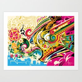 El Viento Azteca ~ The Aztec Wind Art Print