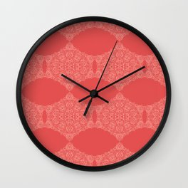 Lace Pattern Neck Gator Lacey Red Wall Clock