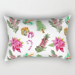 Christmas Pattern with Australian Native Bottlebrush Flowers Rectangular Pillow