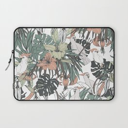 Pattern drawing exotic birds in the rainforest Laptop Sleeve