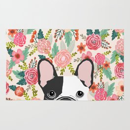 French Bulldog  floral dog head cute frenchies must have pure breed dog gifts Rug