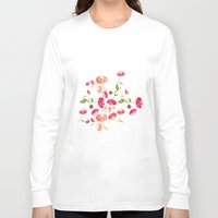 peonies Long Sleeve T-shirts featuring Peonies by viktoria.rodek