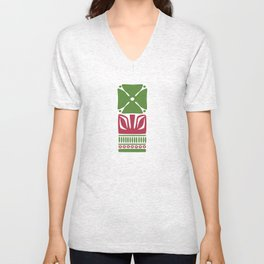 Nordic Green Flower Unisex V-Neck