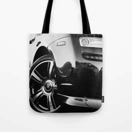 Rolls Rims // Black and White Luxury Super Car Photography Real Life Street Shots Tote Bag
