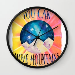 You Can Move Mountains - Galaxy Night Sky Motivational Watercolor Wall Clock