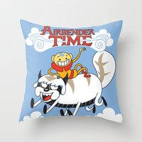 appa Throw Pillows featuring Airbender Time by Kari Fry