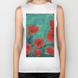 Red Poppies Biker Tank