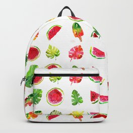 Cute colorful watercolor with watermelon, popsicles and palm leaves Backpack