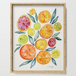 Sliced Citrus Watercolor Serving Tray