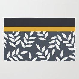 Leaves Pattern in Black Grey nad Yellow Rug