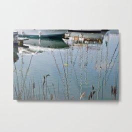 Boats Reflections Water Metal Print