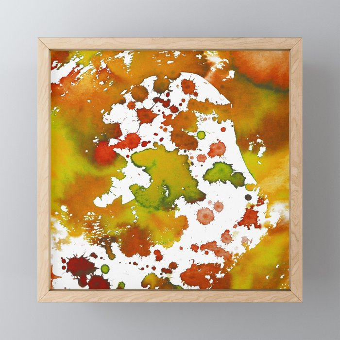Watercolour Splash Orange Framed Mini Art Print