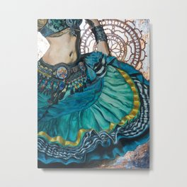 Turquoise Twirling Metal Print