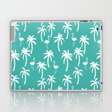Tropical flamingo and palm trees pattern by andrea lauren cute illustration summer patterns turq Laptop & iPad Skin