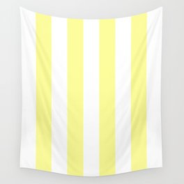 Vertical Stripes - White and Pastel Yellow Wall Tapestry
