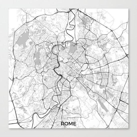 Rome City Map Gray Canvas Print
