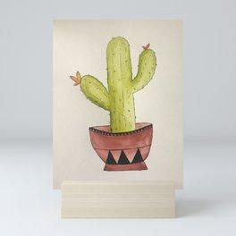 Green Watercolour Cacti Mini Art Print