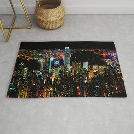 Hong Kong City Skyine Black Night Rug