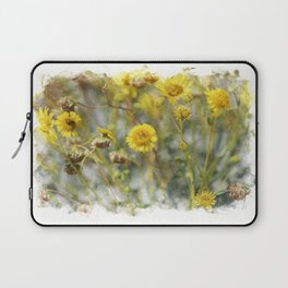 Sunshine Yellow Brittle Bush in Digital Watercolor Laptop Sleeve