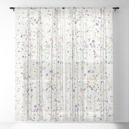 Classy vintage marble terrazzo pastel abstract design Sheer Curtain