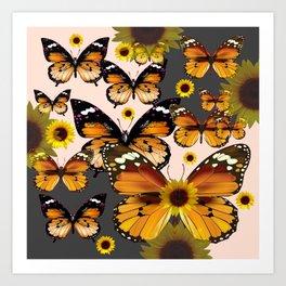 MODERN ART COFFEE & CREAM COLORED BROWN BUTTERFLIES Art Print