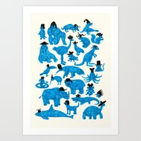 hats Art Prints featuring Blue Animals Black Hats by WanderingBert / David Creighton-Pester