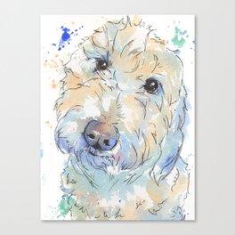 Blue Ombre Golden Doodle Design Canvas Print