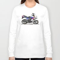 honda Long Sleeve T-shirts featuring 1983 Honda CX650TD Turbo by Saddle Bums