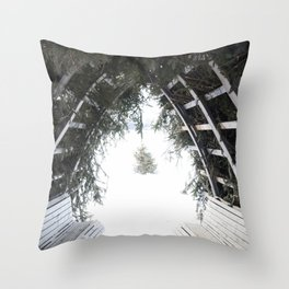 Holiday Winter Pine Tree Cabin in Canada Throw Pillow