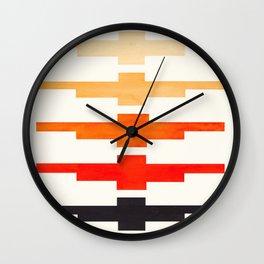 Ancient Aztec Inca Geometric Pattern Watercolor Orange Colorful Gouache Painting Wall Clock