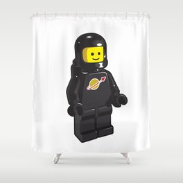 Vintage Black Spaceman Minifig Shower Curtain