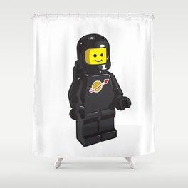Vintage Black Spaceman Minifig Shower Curtain