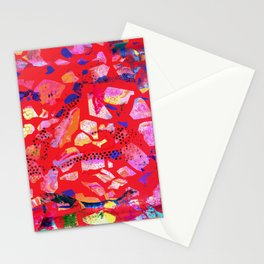 Sea Glass Bright Red Pattern Stationery Cards
