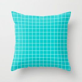 Robin egg blue - heavenly color - White Lines Grid Pattern Throw Pillow