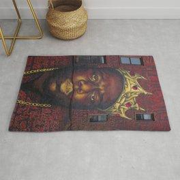 "African American 'King of New York', Bedford–Stuyvesant ""Biggie"" Mural Photograph Rug"