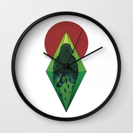 Geometric Crow in a diamond (tattoo style - color version) Wall Clock