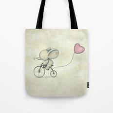 Cute Elephant riding his bike Tote Bag