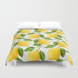 Watercolor Lemons Duvet Cover