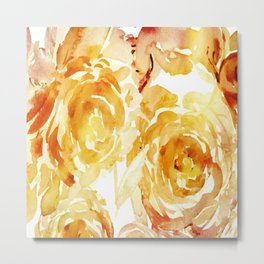 Sunny Day Painterly Floral Abstract Metal Print