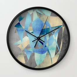 Blue and gold shapes Wall Clock