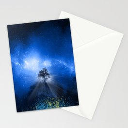 blue night landscape Stationery Cards