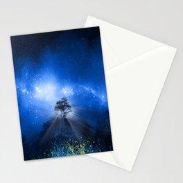 blue night landscape Stationery Cards