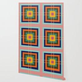 Fine Lines on Retro Colored Squares Wallpaper