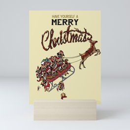 Pugs Christmas Mini Art Print
