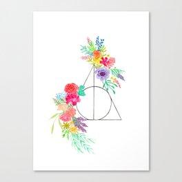 Deathly Hallows Floral Canvas Print